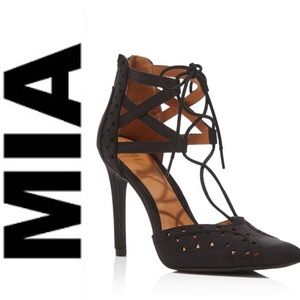 Sexy MIA lace up ankle perforated stiletto heels